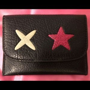 COACH F22956 Black Leather  Star Card Case  Wallet